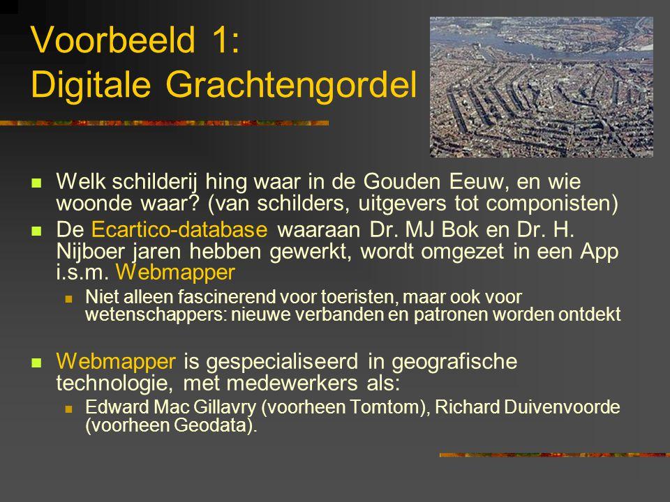 Voorbeeld 1: Digitale Grachtengordel Welk schilderij hing waar in de Gouden Eeuw, en wie woonde waar.