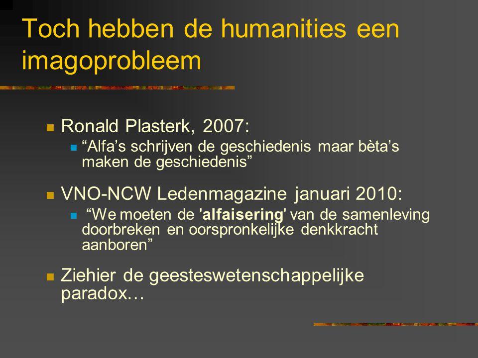 Toch hebben de humanities een imagoprobleem Ronald Plasterk, 2007: Alfa's schrijven de geschiedenis maar bèta's maken de geschiedenis VNO-NCW Ledenmagazine januari 2010: We moeten de alfaisering van de samenleving doorbreken en oorspronkelijke denkkracht aanboren Ziehier de geesteswetenschappelijke paradox…