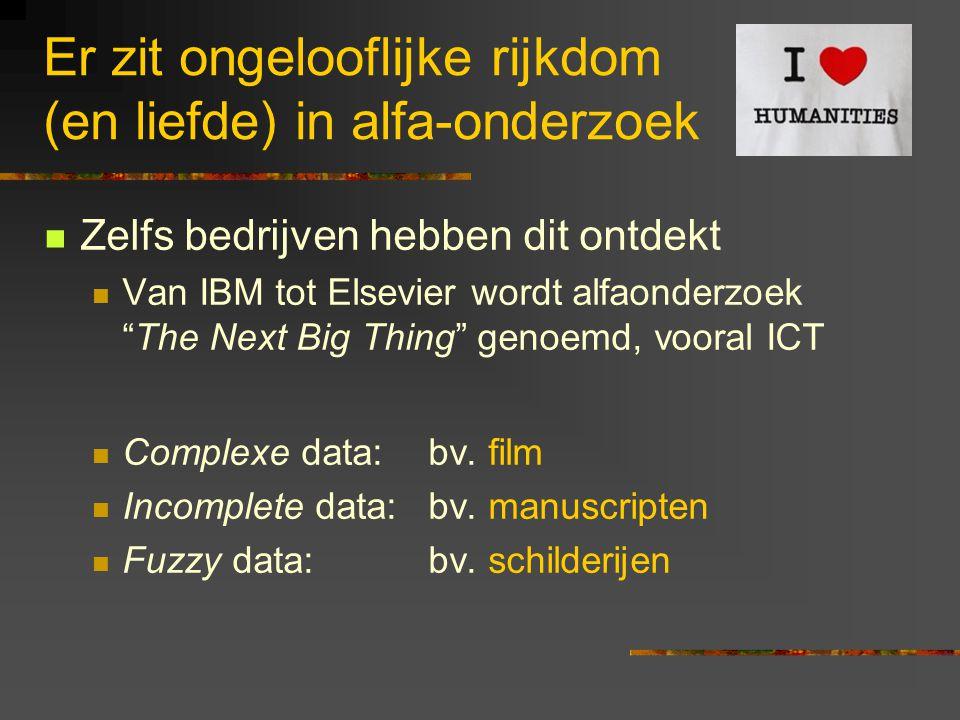 Er zit ongelooflijke rijkdom (en liefde) in alfa-onderzoek Zelfs bedrijven hebben dit ontdekt Van IBM tot Elsevier wordt alfaonderzoek The Next Big Thing genoemd, vooral ICT Complexe data: bv.