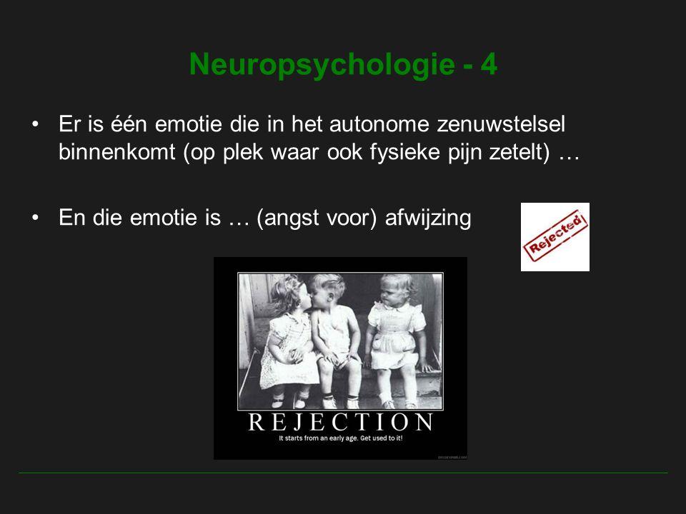 Neuropsychologie - 4 Er is één emotie die in het autonome zenuwstelsel binnenkomt (op plek waar ook fysieke pijn zetelt) … En die emotie is … (angst voor) afwijzing