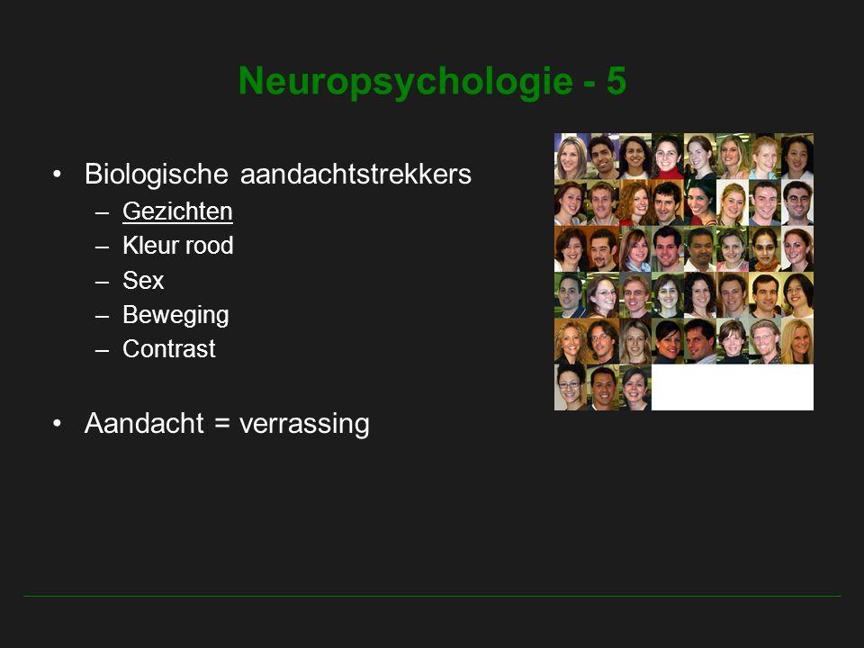 Neuropsychologie - 5 Biologische aandachtstrekkers –Gezichten –Kleur rood –Sex –Beweging –Contrast Aandacht = verrassing