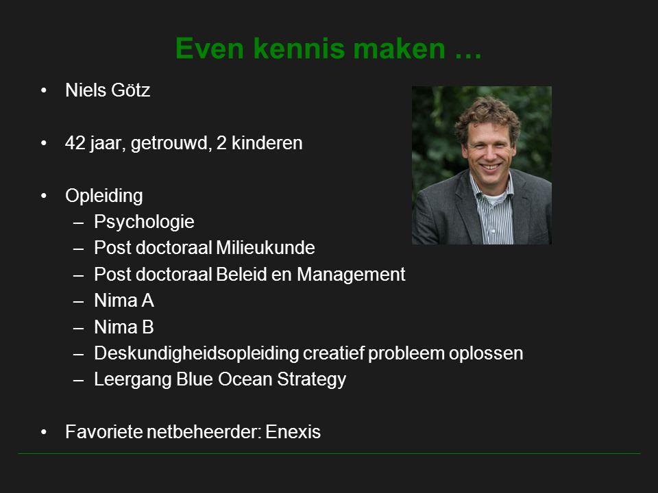 Even kennis maken … Niels Götz 42 jaar, getrouwd, 2 kinderen Opleiding –Psychologie –Post doctoraal Milieukunde –Post doctoraal Beleid en Management –Nima A –Nima B –Deskundigheidsopleiding creatief probleem oplossen –Leergang Blue Ocean Strategy Favoriete netbeheerder: Enexis