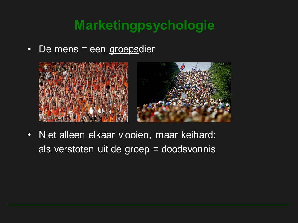 Marketingpsychologie De mens = een groepsdier Niet alleen elkaar vlooien, maar keihard: als verstoten uit de groep = doodsvonnis