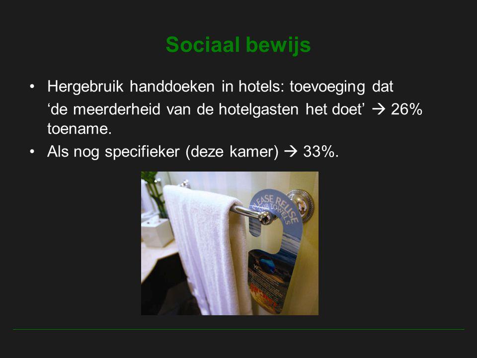 Sociaal bewijs Hergebruik handdoeken in hotels: toevoeging dat 'de meerderheid van de hotelgasten het doet'  26% toename.