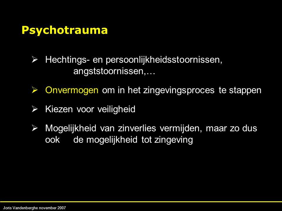 Joris Vandenberghe november 2007  Hechtings- en persoonlijkheidsstoornissen, angststoornissen,…  Onvermogen om in het zingevingsproces te stappen  Kiezen voor veiligheid  Mogelijkheid van zinverlies vermijden, maar zo dus ook de mogelijkheid tot zingeving Psychotrauma