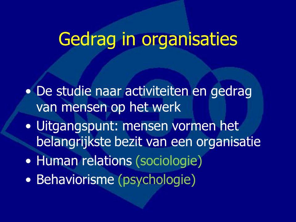 Gedrag in organisaties De studie naar activiteiten en gedrag van mensen op het werk Uitgangspunt: mensen vormen het belangrijkste bezit van een organisatie Human relations (sociologie) Behaviorisme (psychologie)