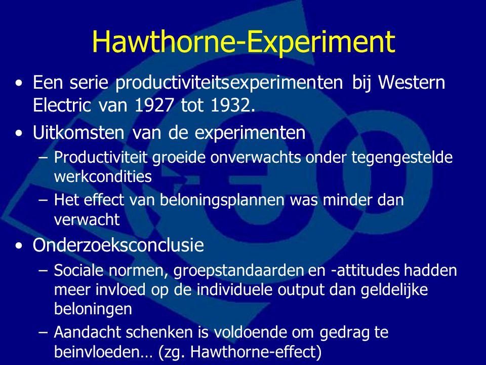 Hawthorne-Experiment Een serie productiviteitsexperimenten bij Western Electric van 1927 tot 1932.