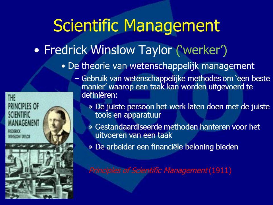 Vier managementprincipes Taylor Samenwerking Ford & Taylor: http://www.youtube.com/watch?v=8PdmNbqtDdI&feat ure=related http://www.youtube.com/watch?v=8PdmNbqtDdI&feat ure=related