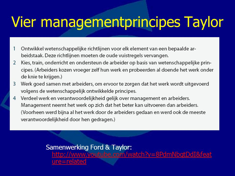 Vier managementprincipes Taylor Samenwerking Ford & Taylor: http://www.youtube.com/watch?v=8PdmNbqtDdI&feat ure=related http://www.youtube.com/watch?v