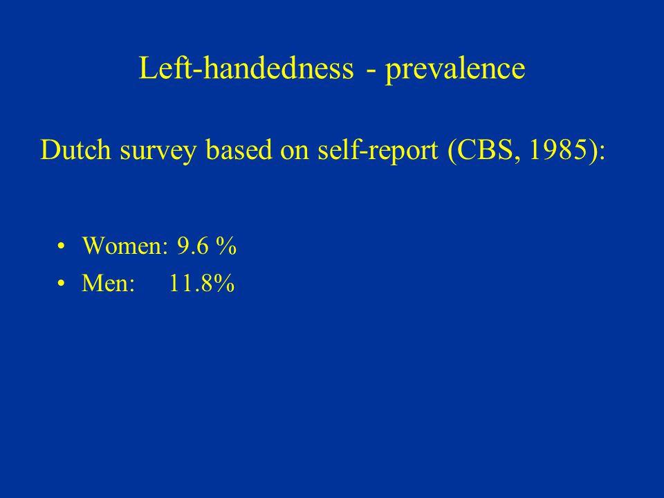 Left-handedness - prevalence Women: 9.6 % Men: 11.8% Dutch survey based on self-report (CBS, 1985):