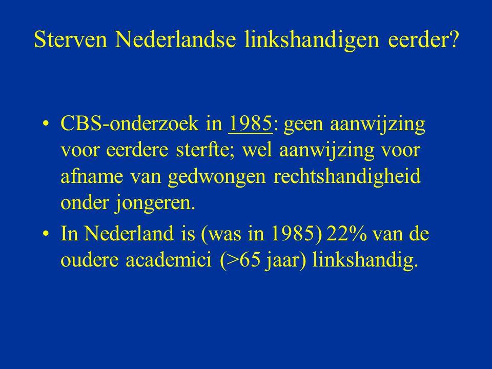 Sterven Nederlandse linkshandigen eerder? CBS-onderzoek in 1985: geen aanwijzing voor eerdere sterfte; wel aanwijzing voor afname van gedwongen rechts