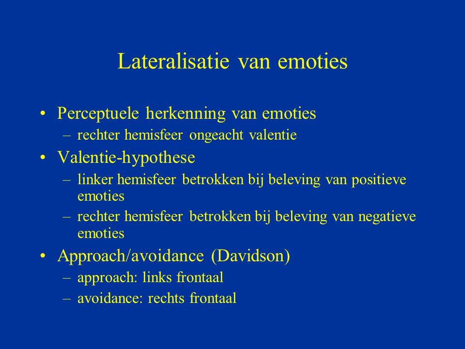 Lateralisatie van emoties Perceptuele herkenning van emoties –rechter hemisfeer ongeacht valentie Valentie-hypothese –linker hemisfeer betrokken bij b