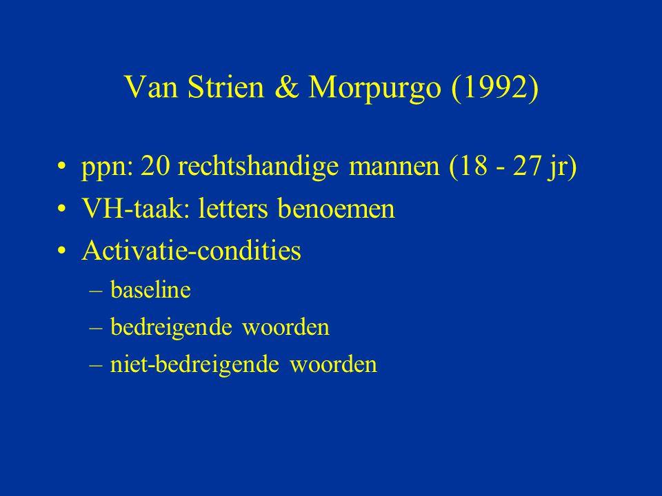 Van Strien & Morpurgo (1992) ppn: 20 rechtshandige mannen (18 - 27 jr) VH-taak: letters benoemen Activatie-condities –baseline –bedreigende woorden –n