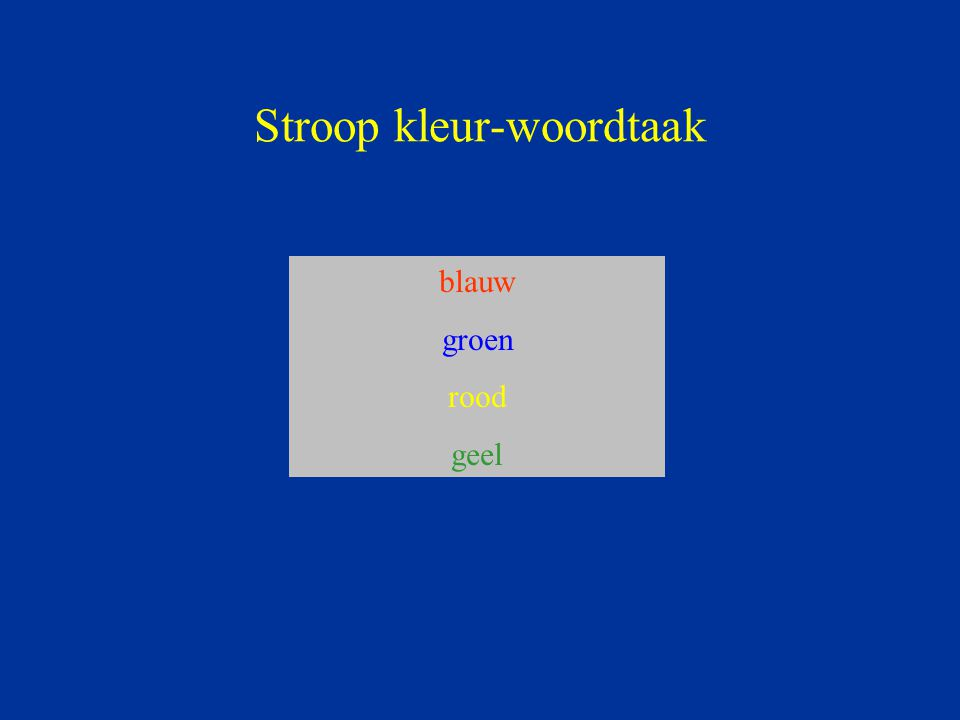 Stroop kleur-woordtaak blauw groen rood geel