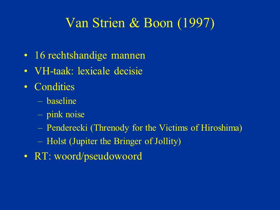 Van Strien & Boon (1997) 16 rechtshandige mannen VH-taak: lexicale decisie Condities –baseline –pink noise –Penderecki (Threnody for the Victims of Hi