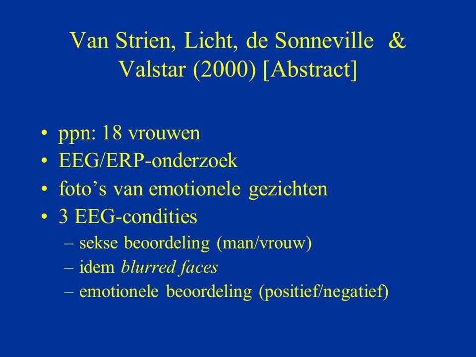 Van Strien, Licht, de Sonneville & Valstar (2000) [Abstract] ppn: 18 vrouwen EEG/ERP-onderzoek foto's van emotionele gezichten 3 EEG-condities –sekse