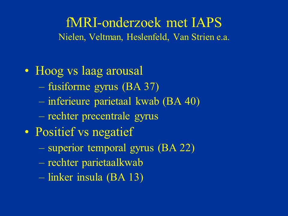 fMRI-onderzoek met IAPS Nielen, Veltman, Heslenfeld, Van Strien e.a. Hoog vs laag arousal –fusiforme gyrus (BA 37) –inferieure parietaal kwab (BA 40)