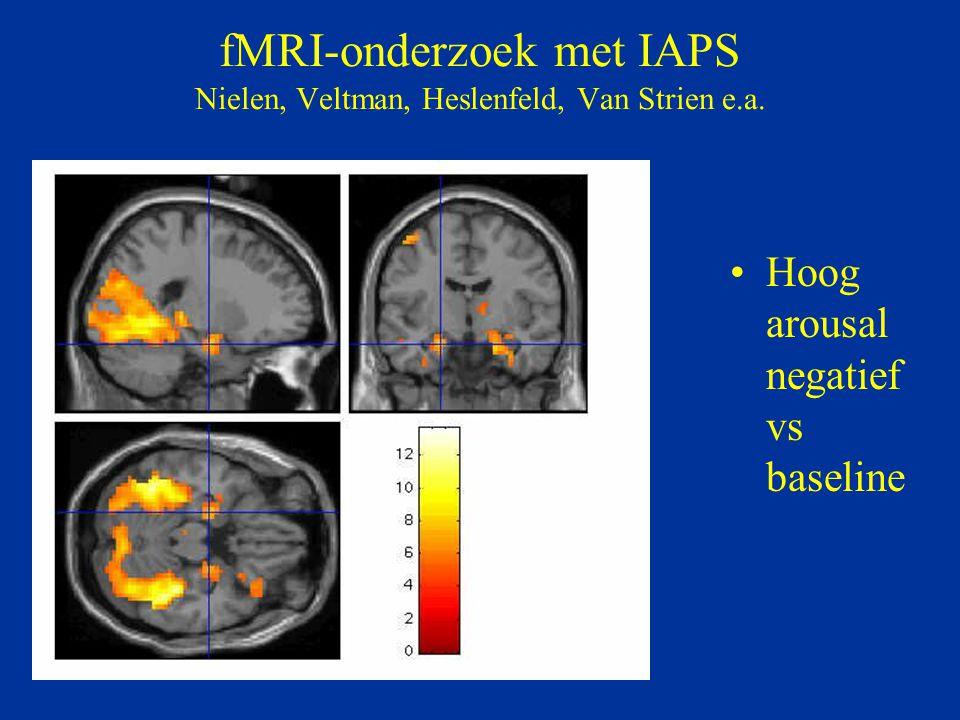 fMRI-onderzoek met IAPS Nielen, Veltman, Heslenfeld, Van Strien e.a. Hoog arousal negatief vs baseline