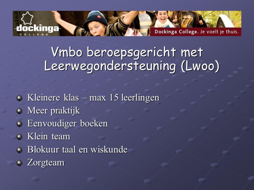 Vmbo beroepsgericht met Leerwegondersteuning (Lwoo) Kleinere klas – max 15 leerlingen Kleinere klas – max 15 leerlingen Meer praktijk Meer praktijk Ee