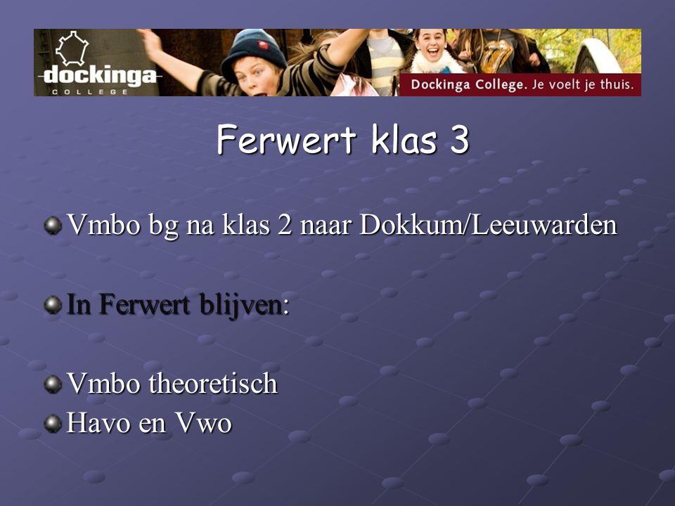Ferwert klas 3 Ferwert klas 3 Vmbo bg na klas 2 naar Dokkum/Leeuwarden In Ferwert blijven: Vmbo theoretisch Havo en Vwo