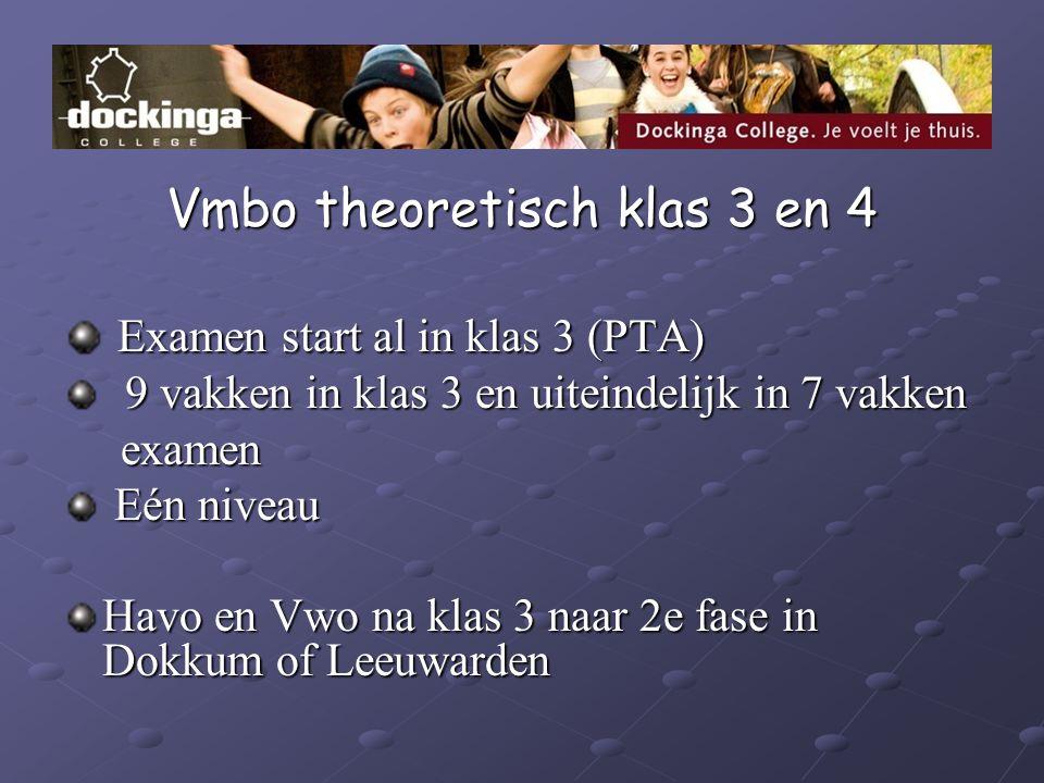 Vmbo theoretisch klas 3 en 4 Examen start al in klas 3 (PTA) Examen start al in klas 3 (PTA) 9 vakken in klas 3 en uiteindelijk in 7 vakken 9 vakken i