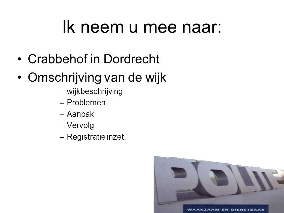 De wijk Crabbehof 7.000 inwoners; Relatief veel huisvesting specifieke doelgroepen; Tuinstad met stempel structuur; Verouderd woningbezit; Onderdeel van herstructurering Dordrecht West.