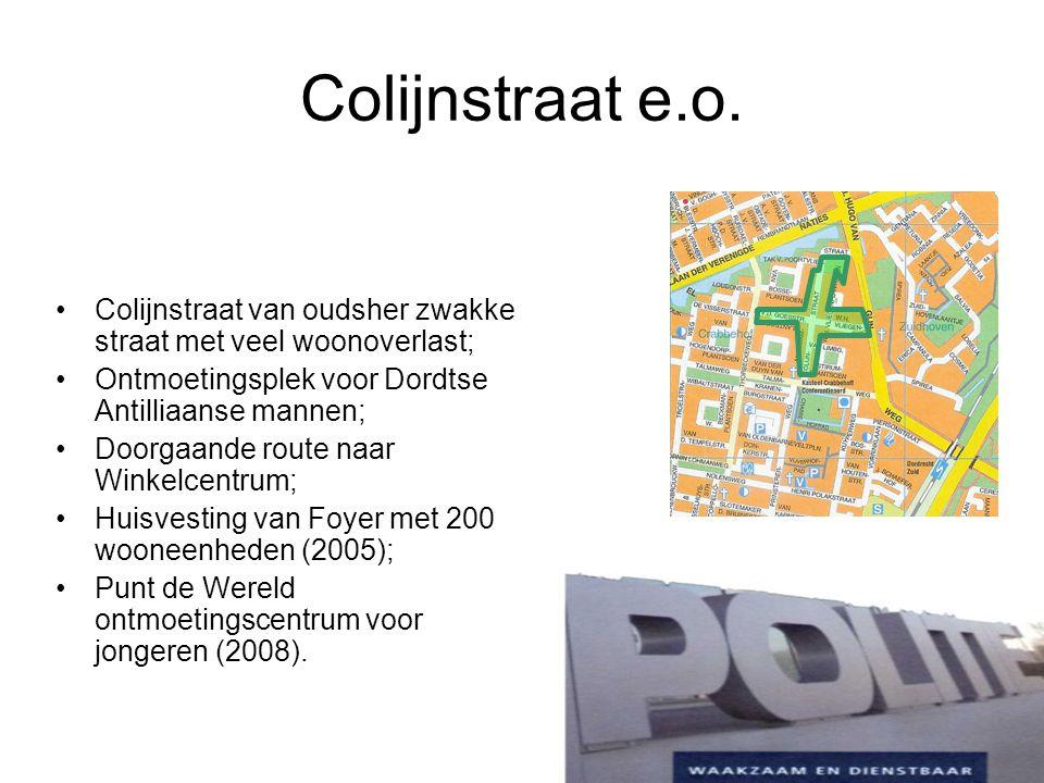 Colijnstraat e.o. Colijnstraat van oudsher zwakke straat met veel woonoverlast; Ontmoetingsplek voor Dordtse Antilliaanse mannen; Doorgaande route naa