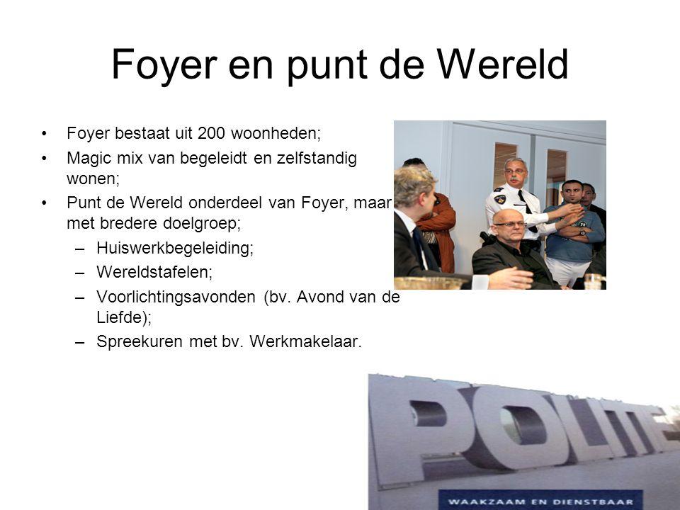 Foyer en punt de Wereld Foyer bestaat uit 200 woonheden; Magic mix van begeleidt en zelfstandig wonen; Punt de Wereld onderdeel van Foyer, maar met br