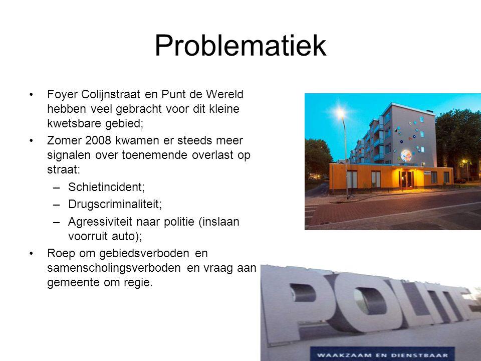 Overlast een seizoensoverzicht Totaal 660 mutaties in politiesysteem in Colijnstraat e.o.; Zomer kent het meeste aantal meldingen; Gaat elke dag van de week door; Overlast concentreert zich tussen 17:00 en 03:00; 60-70% overlast op straat rest in woning of portiek; Opvallendste incidenten zijn: –schietincident op 20 maart 2009 (verdachte aangehouden); –mishandeling politieagent op 18 maart 2009 (verdachte aangehouden) –vernieling ruit politieauto op 18 september 2008; –bedreiging met vuurwapen op 16 mei 2009 (verdachte aangehouden); Ruim 102 Antilliaanse individuen zijn 2X of meer geregistreerd in deze straten; –17 woonachtig in Colijnstraat e.o.; –82 woonachtig in de Drechtsteden; –3 onbekend.