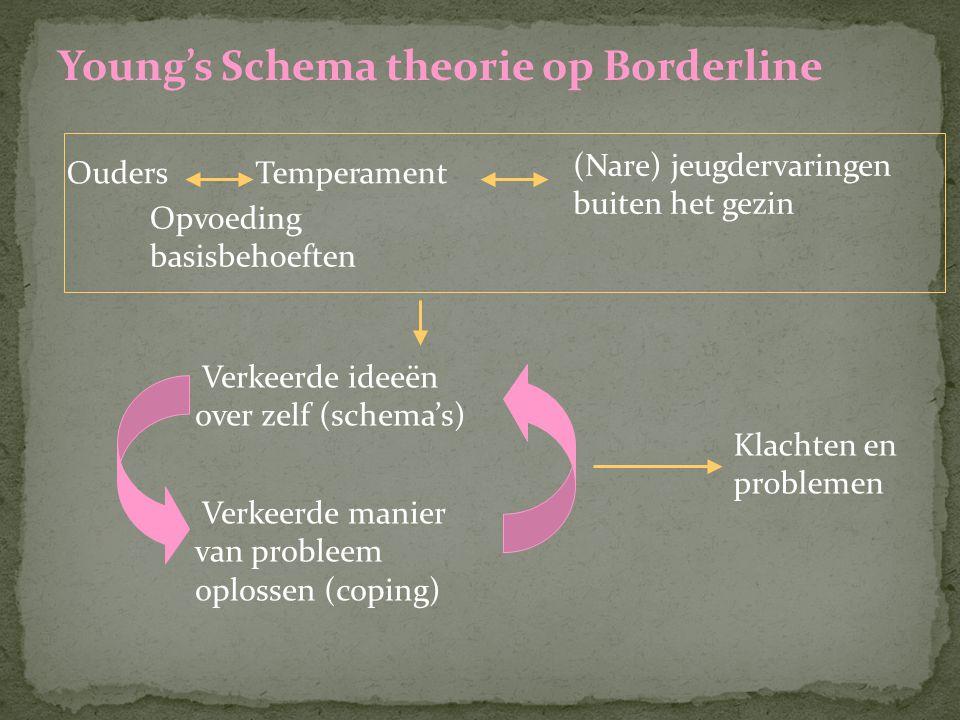Young's Schema theorie op Borderline OudersTemperament (Nare) jeugdervaringen buiten het gezin Opvoeding basisbehoeften Verkeerde ideeën over zelf (sc