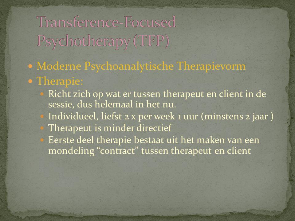 Moderne Psychoanalytische Therapievorm Therapie: Richt zich op wat er tussen therapeut en client in de sessie, dus helemaal in het nu. Individueel, li