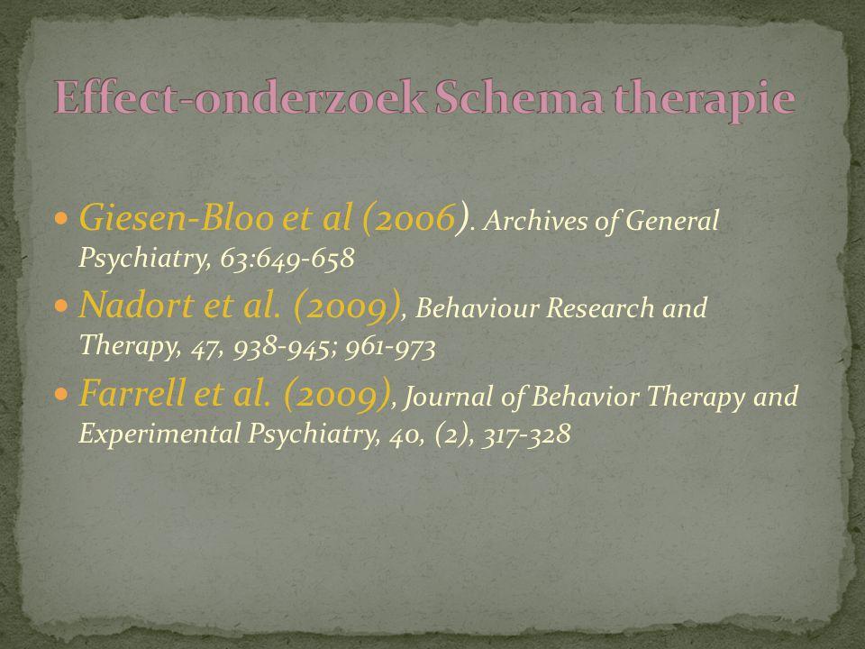 Giesen-Bloo et al (2006). Archives of General Psychiatry, 63:649-658 Nadort et al. (2009), Behaviour Research and Therapy, 47, 938-945; 961-973 Farrel