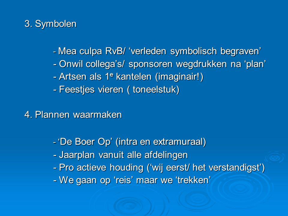 3. Symbolen - Mea culpa RvB/ 'verleden symbolisch begraven' - Onwil collega's/ sponsoren wegdrukken na 'plan' - Artsen als 1 e kantelen (imaginair!) -