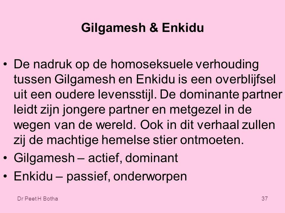 Dr Peet H Botha37 Gilgamesh & Enkidu De nadruk op de homoseksuele verhouding tussen Gilgamesh en Enkidu is een overblijfsel uit een oudere levensstijl