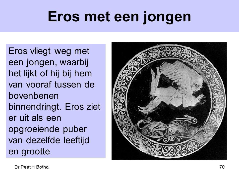 Dr Peet H Botha70 Eros met een jongen Eros vliegt weg met een jongen, waarbij het lijkt of hij bij hem van vooraf tussen de bovenbenen binnendringt. E