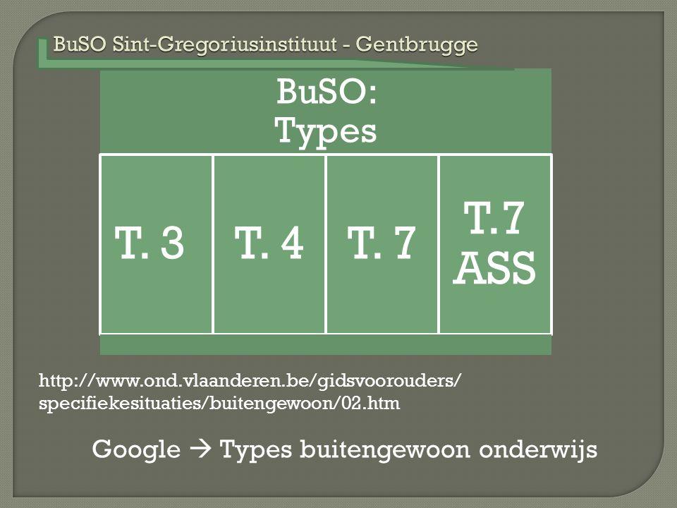 BuSO Sint-Gregoriusinstituut - Gentbrugge BuSO: Types T. 3T. 4T. 7 T.7 ASS http://www.ond.vlaanderen.be/gidsvoorouders/ specifiekesituaties/buitengewo