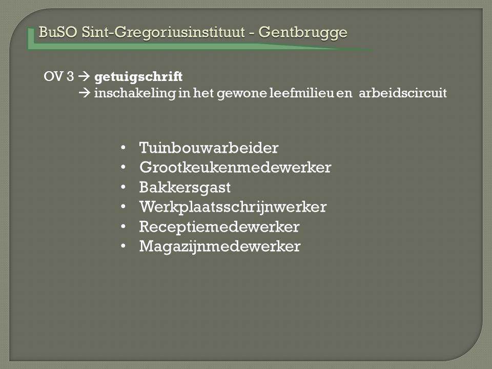 BuSO Sint-Gregoriusinstituut - Gentbrugge OV 3  getuigschrift  inschakeling in het gewone leefmilieu en arbeidscircuit Tuinbouwarbeider Grootkeukenm