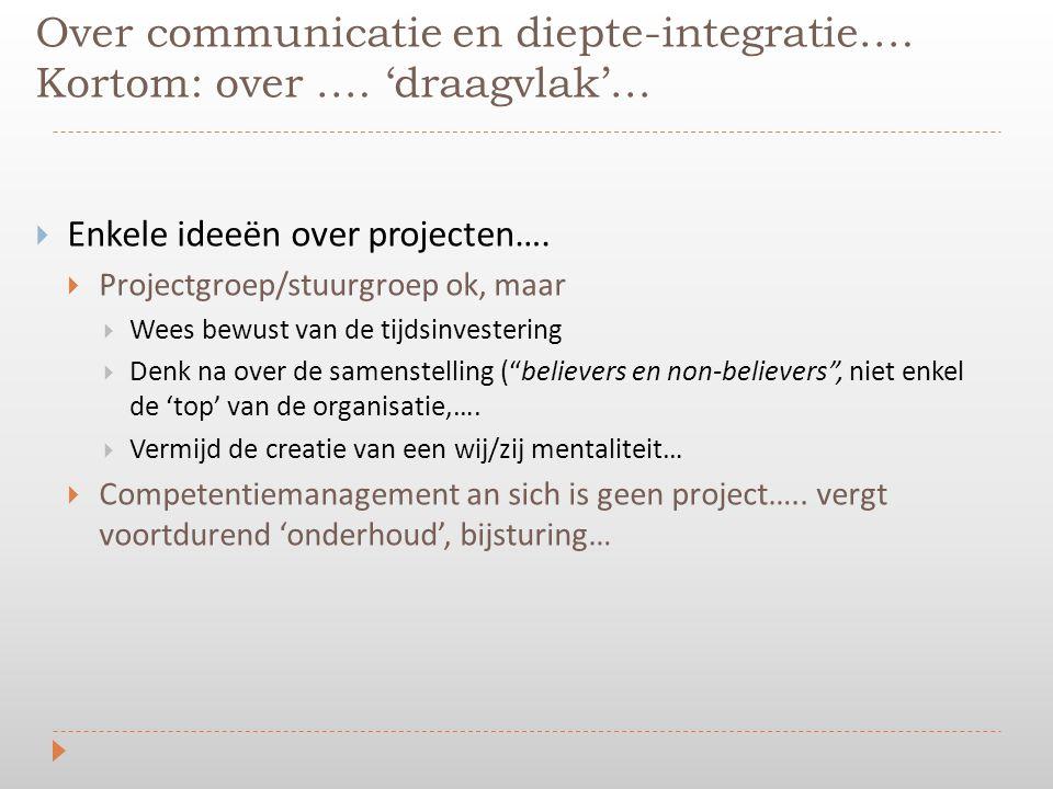 Over communicatie en diepte-integratie…. Kortom: over …. 'draagvlak'…  Enkele ideeën over projecten….  Projectgroep/stuurgroep ok, maar  Wees bewus