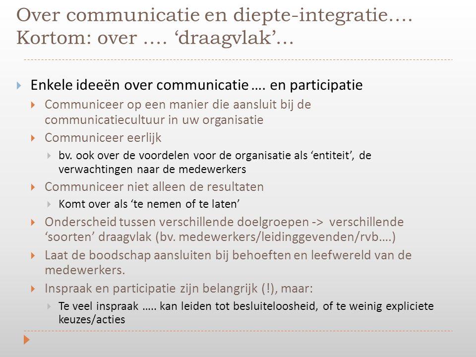 Over communicatie en diepte-integratie…. Kortom: over …. 'draagvlak'…  Enkele ideeën over communicatie …. en participatie  Communiceer op een manier