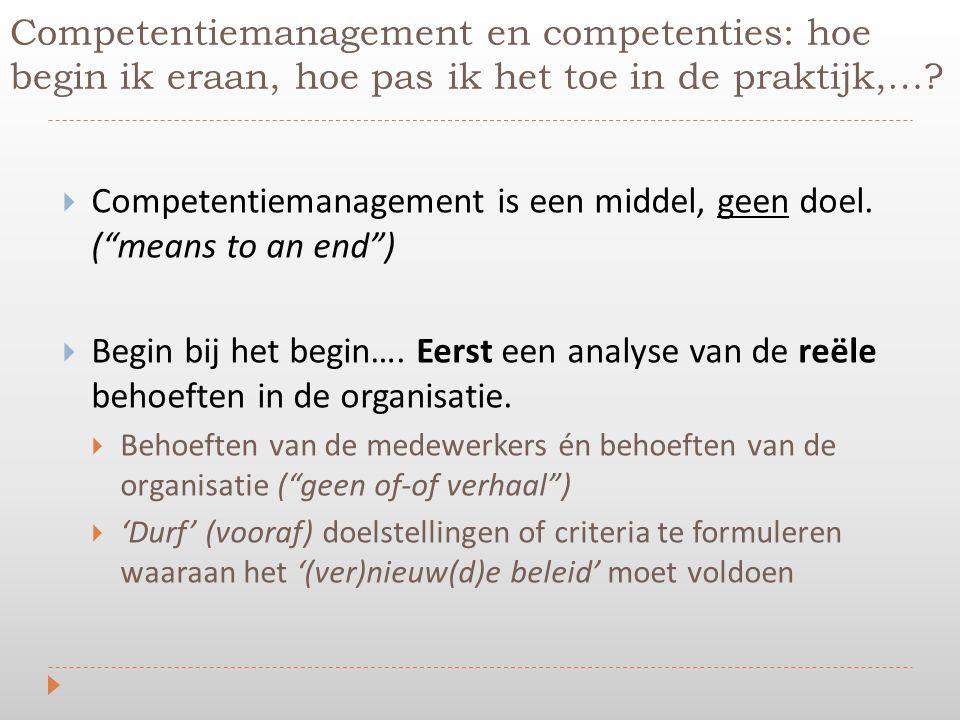 """Competentiemanagement en competenties: hoe begin ik eraan, hoe pas ik het toe in de praktijk,…?  Competentiemanagement is een middel, geen doel. (""""me"""