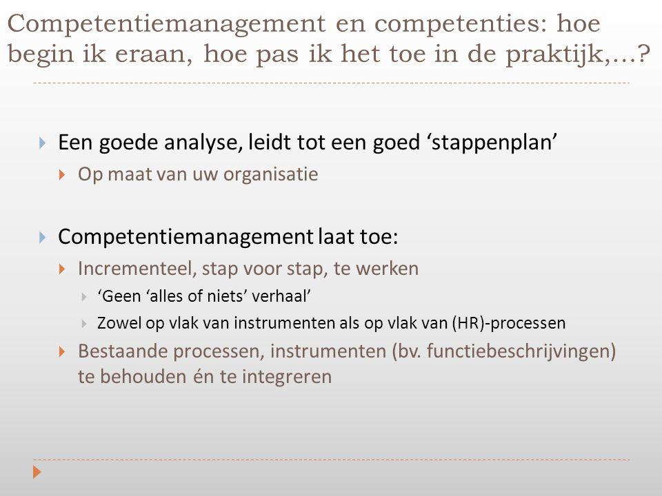  Een goede analyse, leidt tot een goed 'stappenplan'  Op maat van uw organisatie  Competentiemanagement laat toe:  Incrementeel, stap voor stap, t