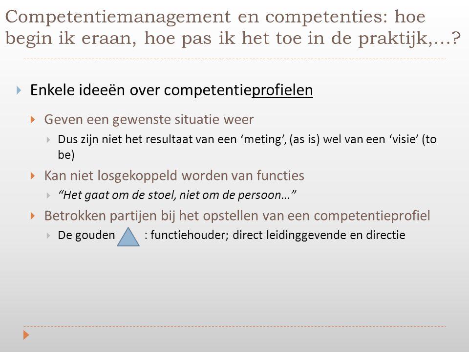  Enkele ideeën over competentieprofielen  Geven een gewenste situatie weer  Dus zijn niet het resultaat van een 'meting', (as is) wel van een 'visi
