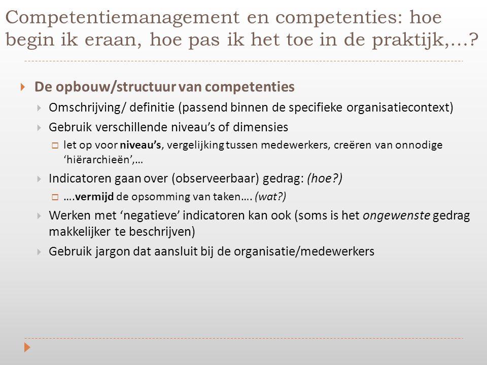  De opbouw/structuur van competenties  Omschrijving/ definitie (passend binnen de specifieke organisatiecontext)  Gebruik verschillende niveau's of