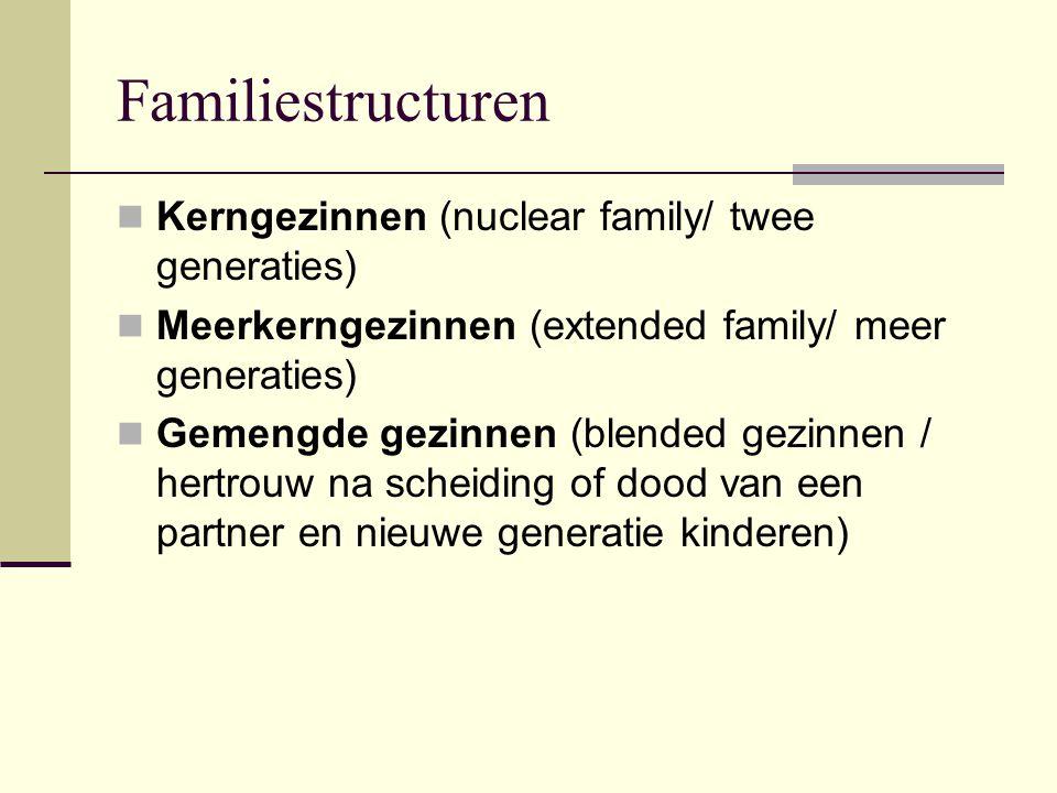 Familiestructuren Kerngezinnen (nuclear family/ twee generaties) Meerkerngezinnen (extended family/ meer generaties) Gemengde gezinnen (blended gezinnen / hertrouw na scheiding of dood van een partner en nieuwe generatie kinderen)