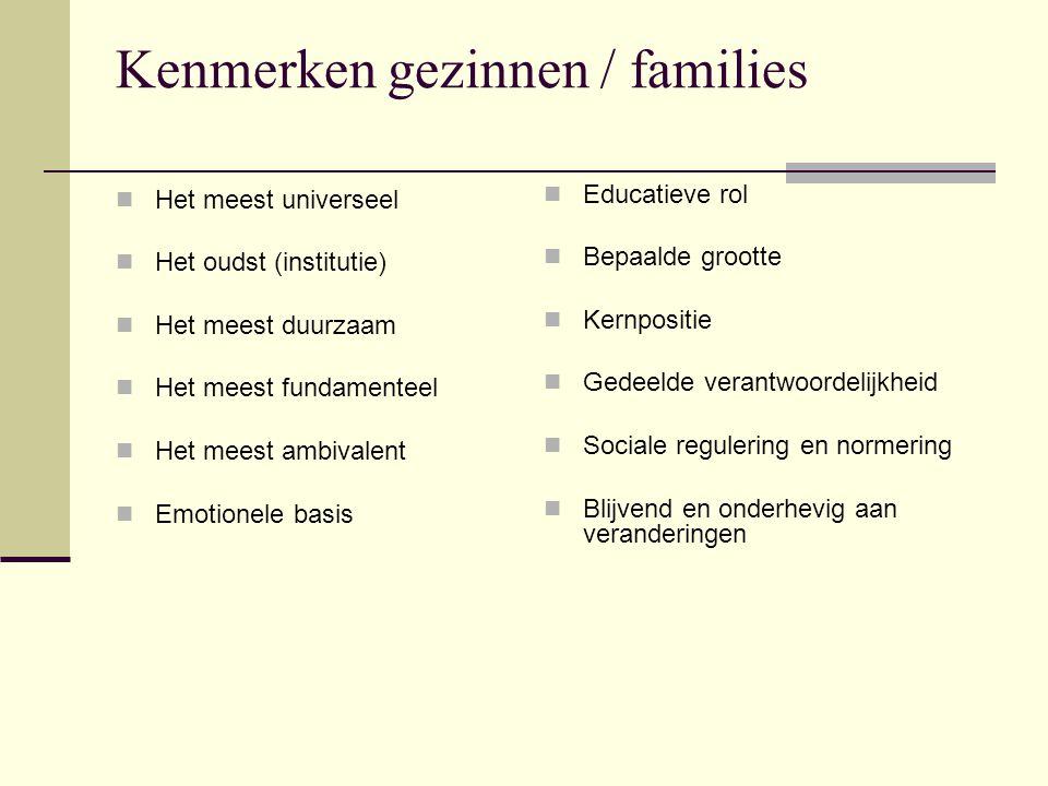 Kenmerken gezinnen / families Het meest universeel Het oudst (institutie) Het meest duurzaam Het meest fundamenteel Het meest ambivalent Emotionele basis Educatieve rol Bepaalde grootte Kernpositie Gedeelde verantwoordelijkheid Sociale regulering en normering Blijvend en onderhevig aan veranderingen