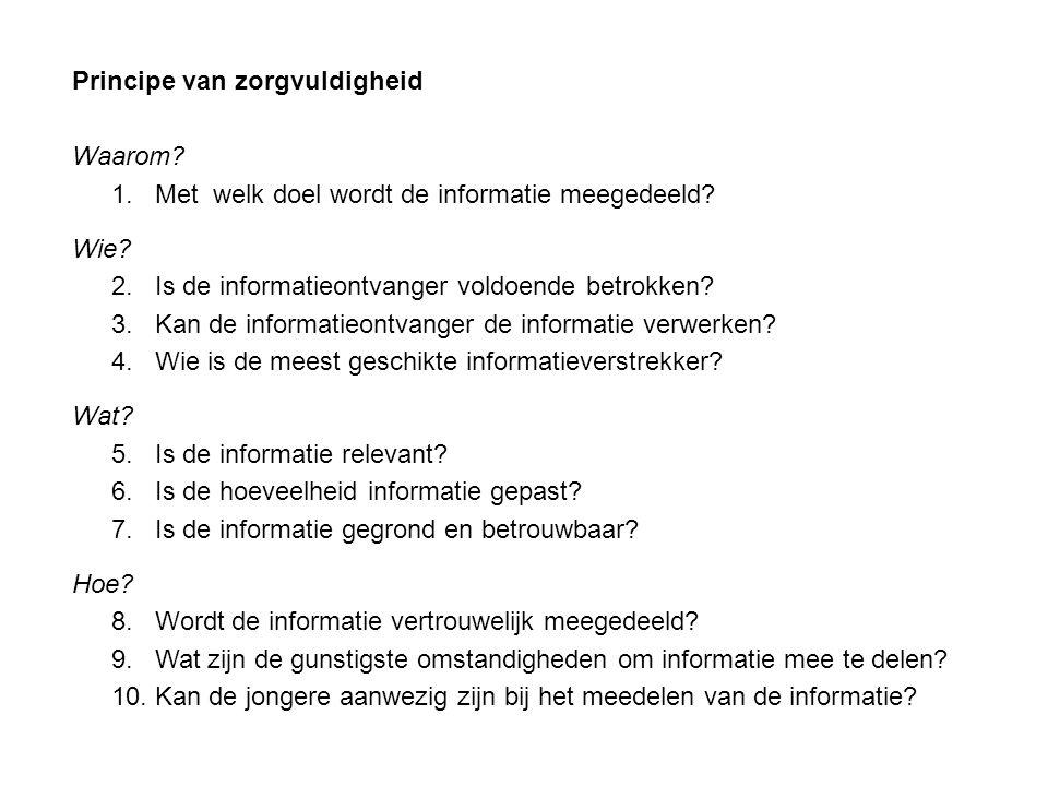Principe van zorgvuldigheid Waarom. 1. Met welk doel wordt de informatie meegedeeld.