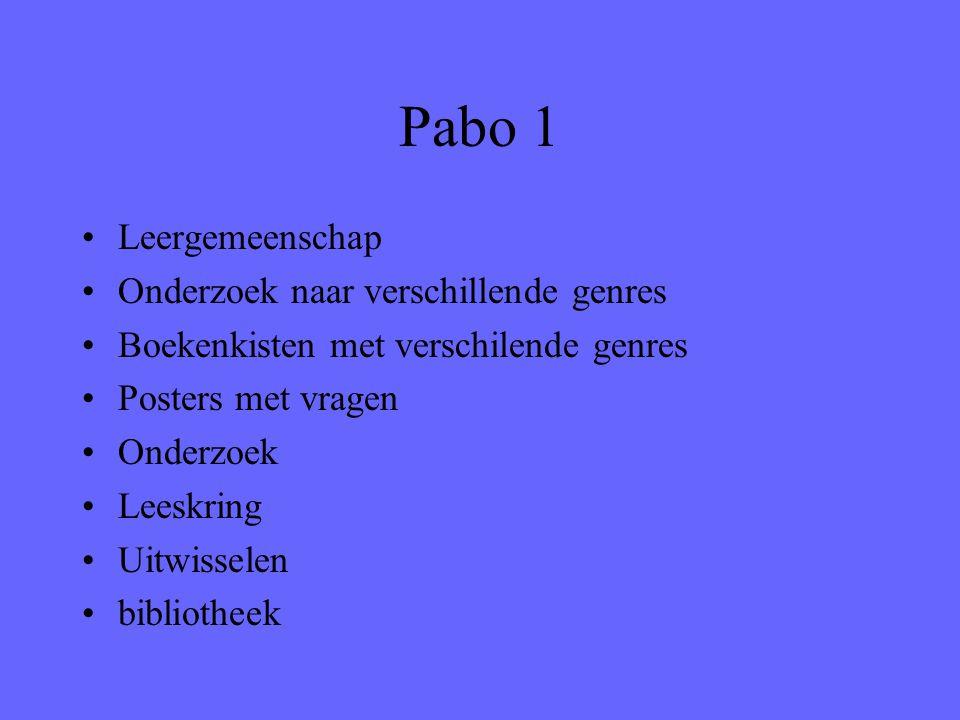 Pabo 1 Leergemeenschap Onderzoek naar verschillende genres Boekenkisten met verschilende genres Posters met vragen Onderzoek Leeskring Uitwisselen bib