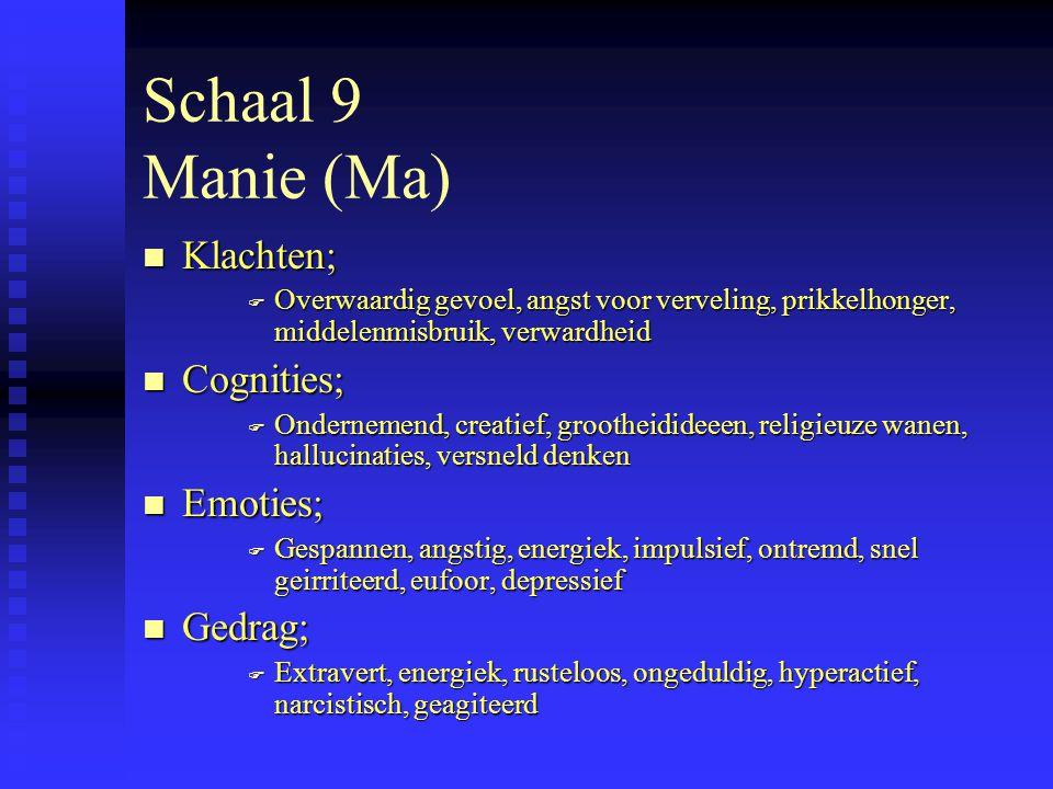 Schaal 9 Manie (Ma) n Klachten; F Overwaardig gevoel, angst voor verveling, prikkelhonger, middelenmisbruik, verwardheid n Cognities; F Ondernemend, creatief, grootheidideeen, religieuze wanen, hallucinaties, versneld denken n Emoties; F Gespannen, angstig, energiek, impulsief, ontremd, snel geirriteerd, eufoor, depressief n Gedrag; F Extravert, energiek, rusteloos, ongeduldig, hyperactief, narcistisch, geagiteerd