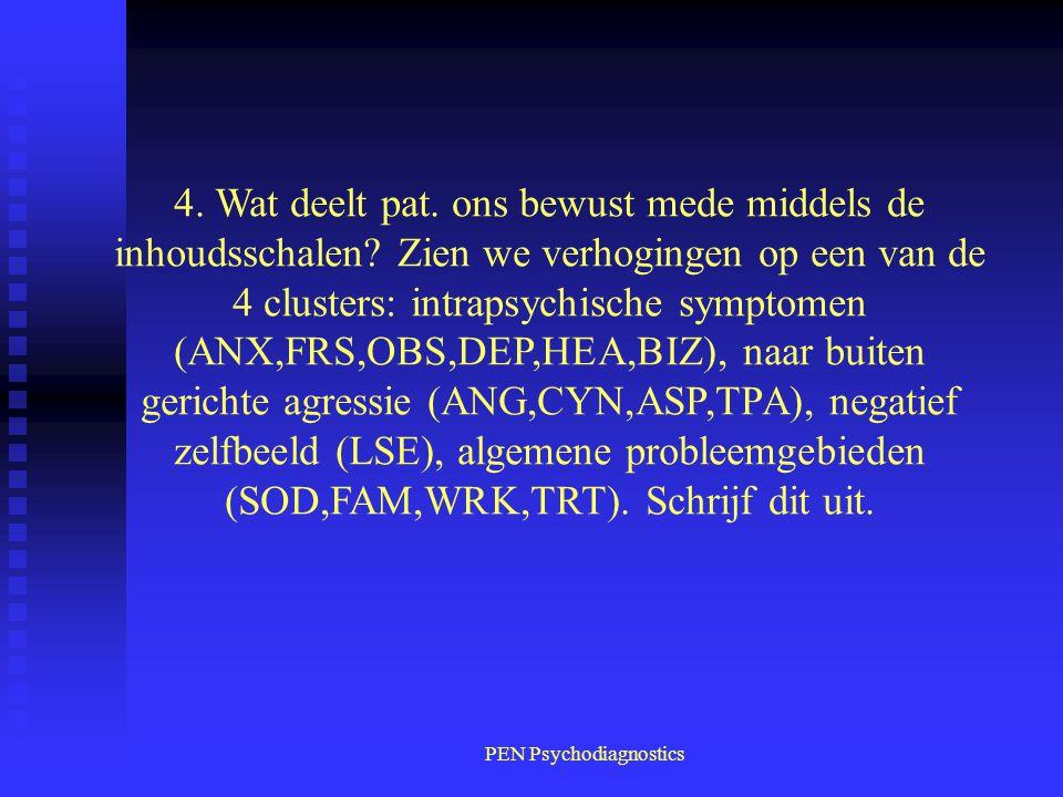 PEN Psychodiagnostics 4.Wat deelt pat. ons bewust mede middels de inhoudsschalen.