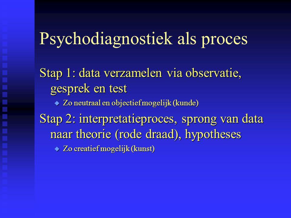 Psychodiagnostiek als proces Stap 1: data verzamelen via observatie, gesprek en test u Zo neutraal en objectief mogelijk (kunde) Stap 2: interpretatieproces, sprong van data naar theorie (rode draad), hypotheses u Zo creatief mogelijk (kunst)